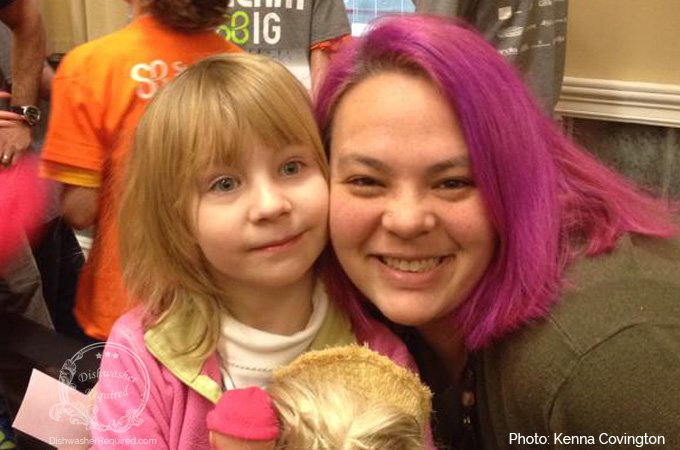 One of Kenna's girl scouts, Olivia, came out to support her for St. Baldrick's. This picture was taken right before the big shave.