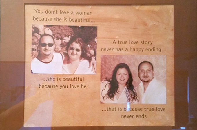 This is a piece that hangs in the entrance to Emily's home. She tells me that the quotes are things Fouad said to her before asking her to move in together.