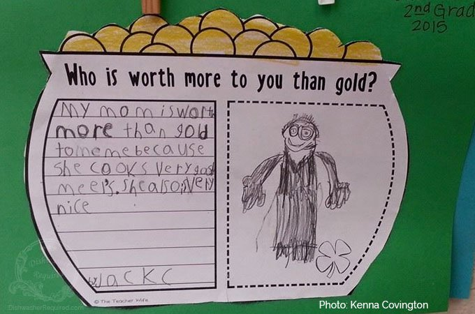 """My mom is worth more than gold to me because she cooks very good meels. She also is very nice."""