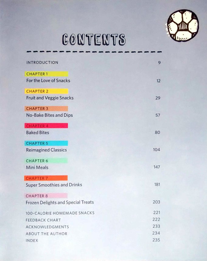 The table of contents of Laura Fuentes' book The Best Homemade Snacks on the Planet