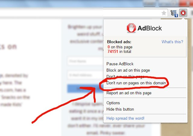 Turning off AdBlock for just one site.