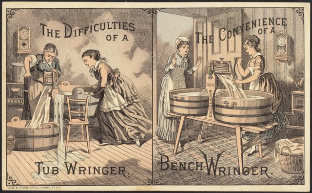 Laundry in Victorian times: Apparently having a bench wringer made wash day a downright pleasant experience! Check out the tidy hair and happy faces of women who have a bench wringer.