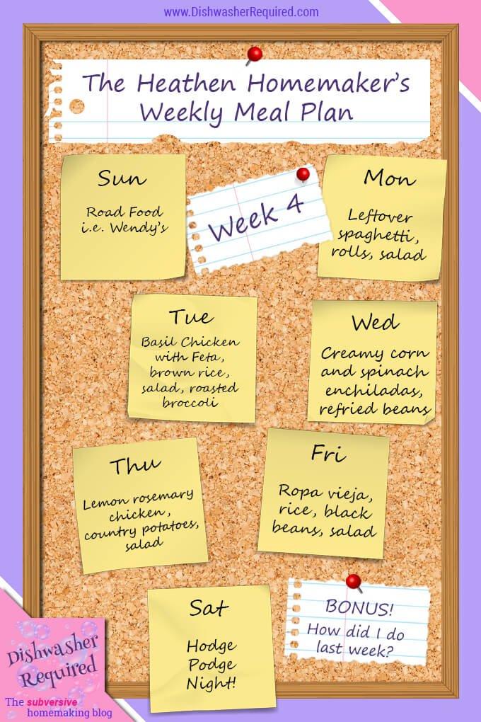 The Heathen Homemaker's Weekly Meal Plan - Week 4