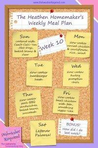 The Heathen Homemaker's Weekly Meal Plan – Week 10