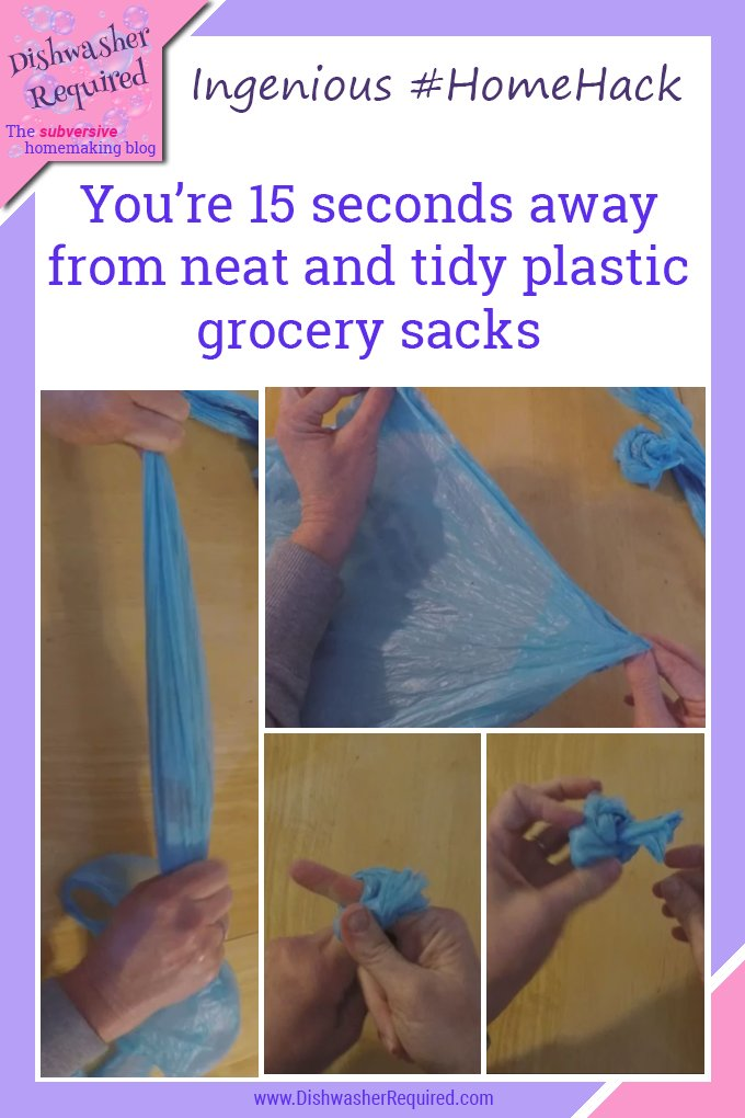 This is GENIUS! It takes just a few seconds to wrap plastic grocery bags into neat and tidy little balls.