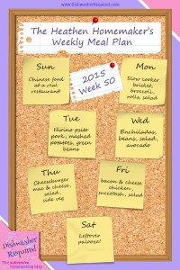 The Heathen Homemaker's Weekly Meal Plan 2015  – Week 50