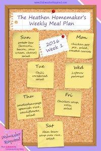 The Heathen Homemaker's Weekly Meal Plan 2016  – Week 1