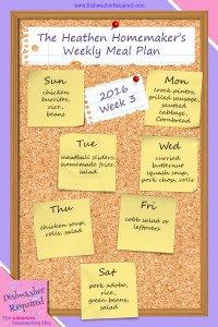 The Heathen Homemaker's Weekly Meal Plan 2016  – Week 3