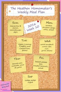 The Heathen Homemaker's Weekly Meal Plan 2016  – Week 10