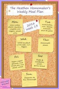 The Heathen Homemaker's Weekly Meal Plan 2016 – Week 13