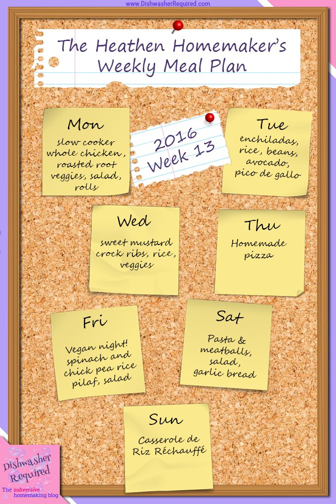 The Heathen Homemaker's weekly meal plan. She always has some great ideas!