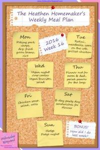 The Heathen Homemaker's Weekly Meal Plan 2016 – Week 16